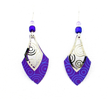 Adajio Purple Silver Filigree Earrings