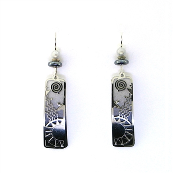 Adajio Black and Grey Sun Earrings