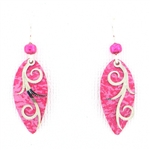 Adajio Fuschia Oval & Silver Earrings