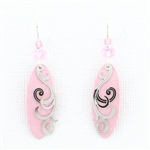 Adajio Pink Silver Swirl Overlay Earrings