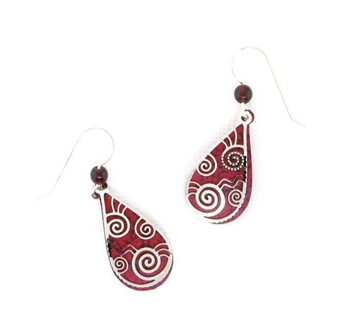 Adajio Burgandy Red Silver Swirl Overlay Earrings
