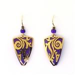 Adajio Purple and Gold Triangles Earrings