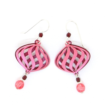 Adajio Pink & Red Spiral Earrings 7477
