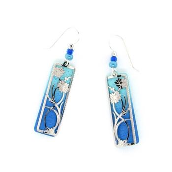 Adajio Blue & Aqua Floral Silver IR Overlay Earrings