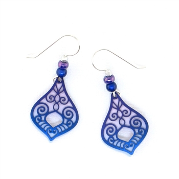 Adajio Lavendar & Purple Teardrop Etched Earrings 7578