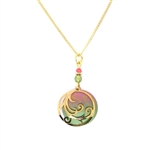 Adajio Coral & Olive Swirl Gold Plate Overlay Necklace