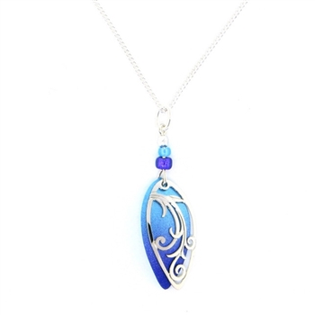 Adajio Blue & Violet Swirl Silver IR Overlay Necklace
