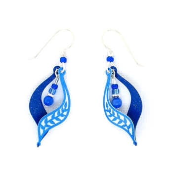 Adajio Blue Two-Tone Branch Swirl Earrings 7610