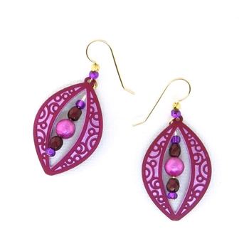 Adajio Pink Burgandy Earrings 7611