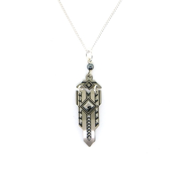 "Adajio Art Deco ""Sword"" with Hematite Necklace"