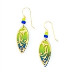 Adajio Green and Blue Gold Filigree Overlay Earrings 7633