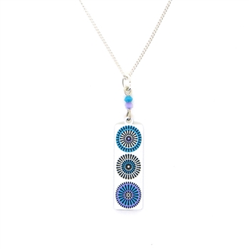 Adajio White, Aqua & Violet Circles Necklace