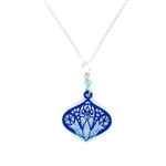 Adajio Midnight Blue & Aqua Teardrop with Rhinestone Necklace