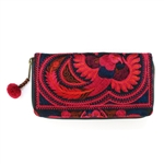 AMano Red Flower Hmong Wallet