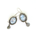 Angie Olami Earrings-Round Silver Ribbon Edge & Labradorite