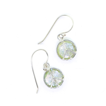 Angie Olami Earrings-Roman Glass Peace Sign Earrings