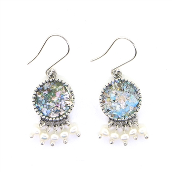 Angie Olami Earrings-Round Drops with Pearl Beaded Dangles
