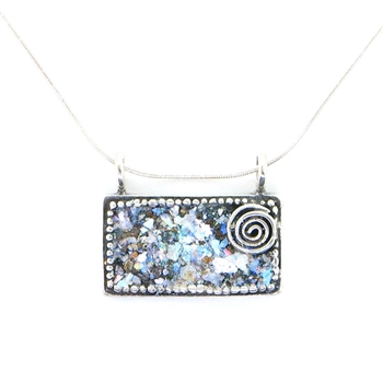 Angie Olami Necklace-Landscape Rectangle with Swirl