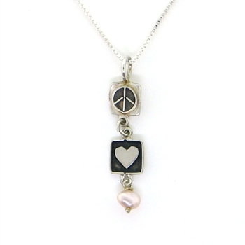 Angie Olami Necklace-Heart-Peace Sign & Pink Pearl