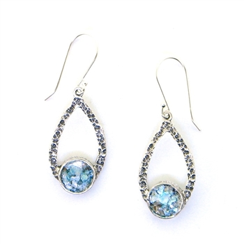 Angie Olami Roman Glass Open Tear Drop Earrings 806018