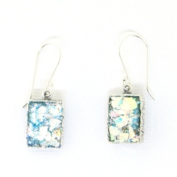 Angie Olami Earrings-Roman Glass Rectangle