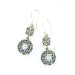 Angie Olami Earrings-Sterling Filigree Flower & Round Drop