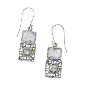 Angie Olami Earrings-Rectangle with Blue Glass Accent