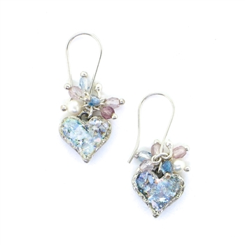 Angie Olami Earrings-Hearts with Pearls & Beads