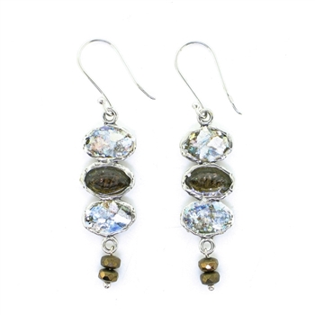 Angie Olami Earrings-Triple Drop Roman Glass with Smokey Quartz
