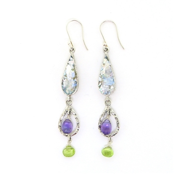 Angie Olami Earrings-Teardrop Dangle with Peridot & Amethyst