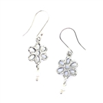 Angie Olami Earrings-Open Sterling Daisy with Pearl Drop