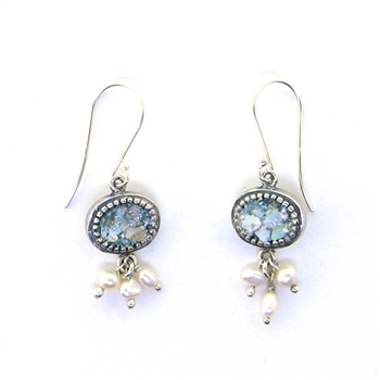 Angie Olami Roman Glass Pearl Dangle Earrings 810107
