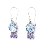 Angie Olami Roman Glass Amethyst Dangles Earrings 810176