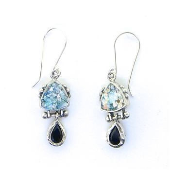 Angie Olami Roman Glass Iolite Teardrop Earrings 810214