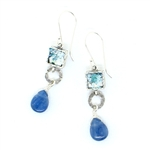 Angie Olami Earrings-Roman Glass Small Square with Kyanite