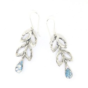 Angie Olami Earrings-Roman Glass Teardrop & Silver Leaves