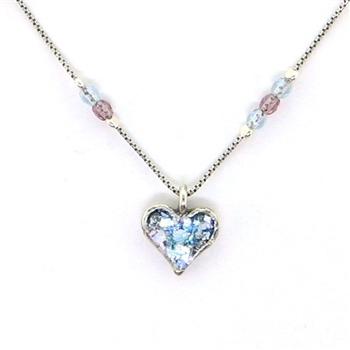 Angie Olami Necklace-Petite Heart on Beaded Pearl Chain