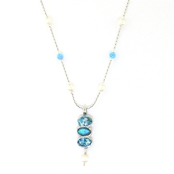 Angie Olami Necklace-Triple Drop Roman Glass, Opals & Pearls