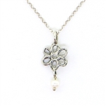 Angie Olami Necklace-Sterling Daisy & Pearl