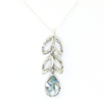 Angie Olami Necklace-Roman Glass Teardrop & Silver Leaves