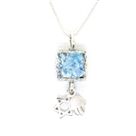 Angie Olami Necklace-Star of David, Hamsa  and Tiny Roman Glass Square