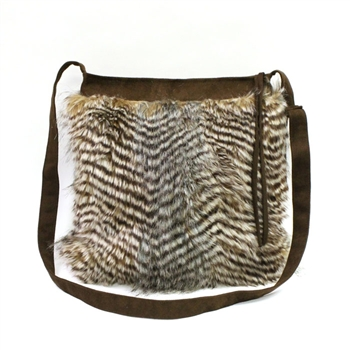 Atenti Haversack Feather Fur Crossbody Bag