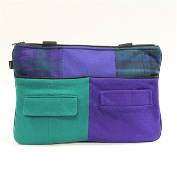 Baabaazuzu Zippered Tote Greens and Purples
