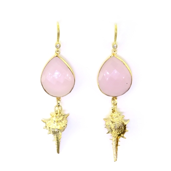 Beautiful Soul Earrings Gold Shell with Pink Crystal