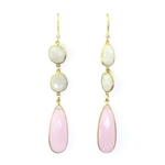 Beautiful Soul Earrings 3 Tier  Moonstone & Pink Crystal