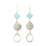 Beautiful Soul Earrings 3 Tier  Aqua & Clear Crystal, Rutiliated Quartz