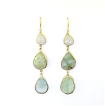 Beautiful Soul Earrings 3 Tier Moonstone & Flourite
