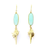 Beautiful Soul Earrings Gold Shell with Aqua Blue Crystal