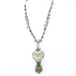 Beautiful Soul Heart Tassel Long Necklace with Pyrite