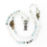 Beautiful Soul Mermaid Sea Goddess Larimar and Selenite Necklace